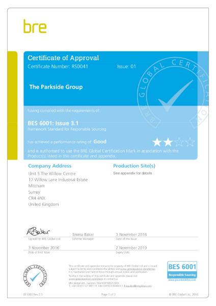 BES 6001 Certificate