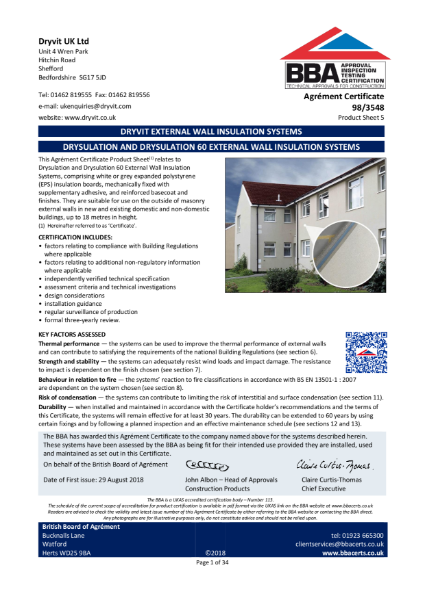 98/3548 DRYSULATION AND DRYSULATION 60 EXTERNAL WALL INSULATION SYSTEMS