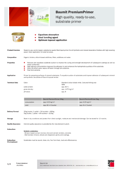 Baumit Premium Primer Datasheet