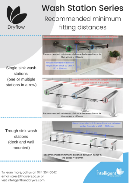 Dryflow Dri-tap Hand Dryer - Wash Station Series Fitting Dimensions; Soap Dispenser, Water Tap and Hand Dryer System