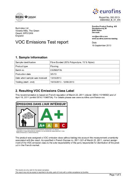 VOC Emissions Test report Fibre bonded  (85% pp & 15% nylon)