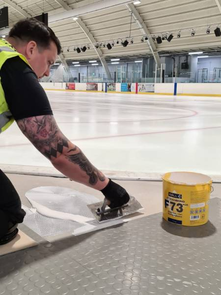 Slough Ice Arena - F. Ball adhesive saves ice rink installation