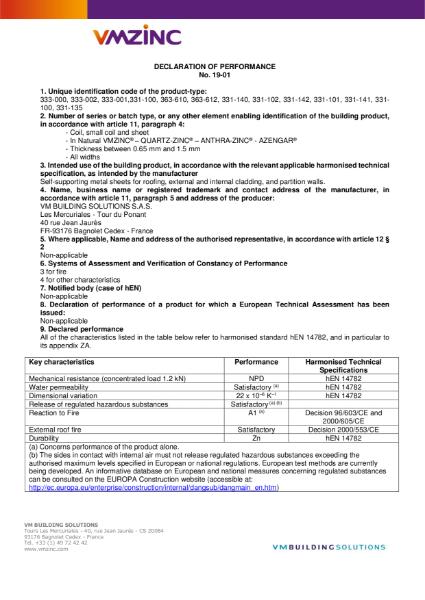 DECLARATION OF PERFORMANCE 19-01 NATURAL-ZINC, QUARTZ-ZINC, ANTHRA-ZINC, AZENGAR