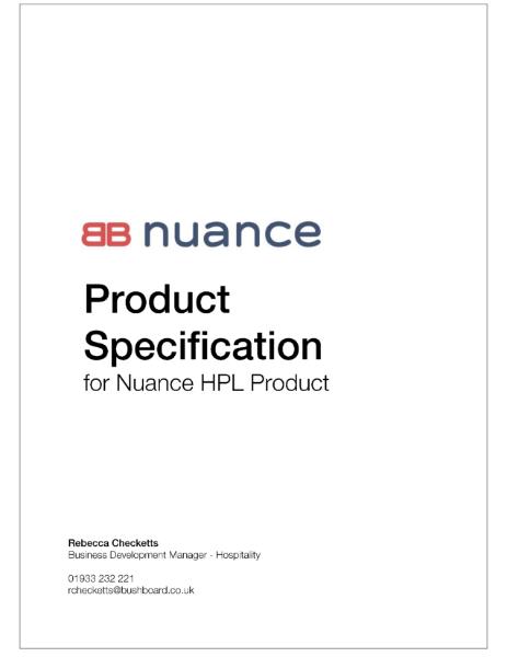 Nuance Specification- HPL