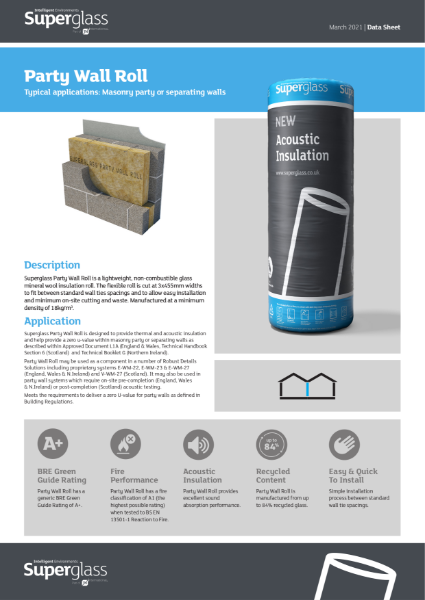 Superglass Party Wall Insulation Range