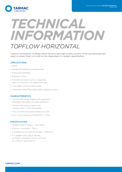 Topflow Horizontal ideal for slabs, domestic, mezzanine and residential dwellings