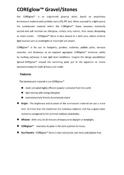 CORE GLOW Specification Sheet