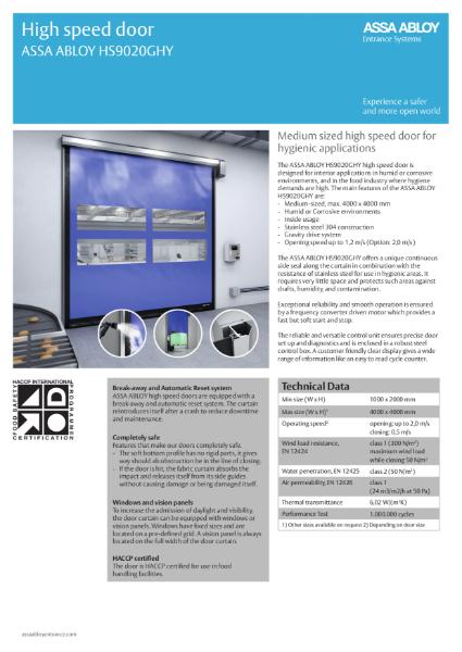 High Speed Food Hygiene Door - HS9020
