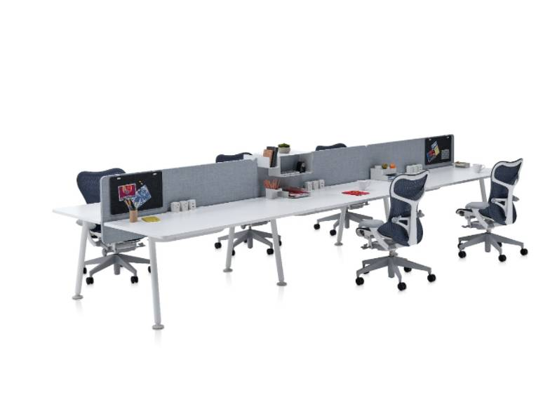 Memo - Two Person, Side-by-Side Desk with Screen