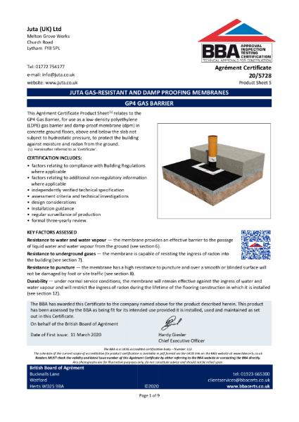 JUTA GP4 Gas Barrier 20/5728 - Product Sheet 5