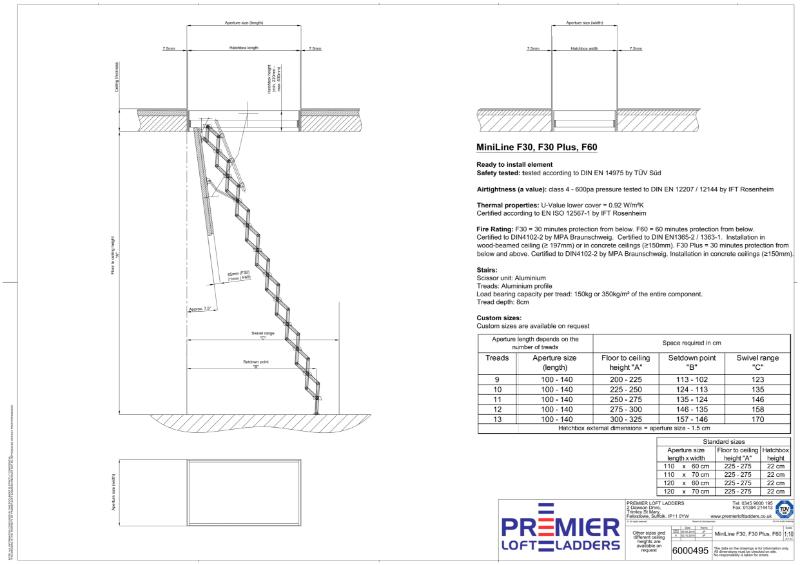 The MiniLine F30/F30 Plus/F60 fire rated loft ladder