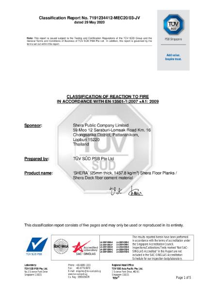 SHERA _ A1fl Fire Test Certificate