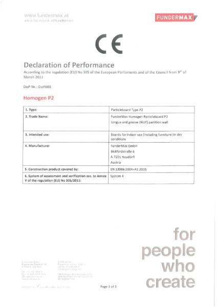 Declaration of Performance Homogen Particleboard P2