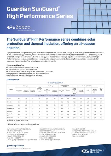 SunGuard® Product flyers - High Performance Flyer