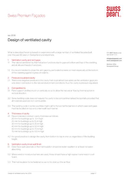 Swisspearl Design of Ventilation Cavity