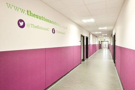 Sutton Academy Chose Yeoman Shield Hessianex Wall Protection Panels to help protect the white plaster walls on corridors and study areas from becoming damaged and grubby