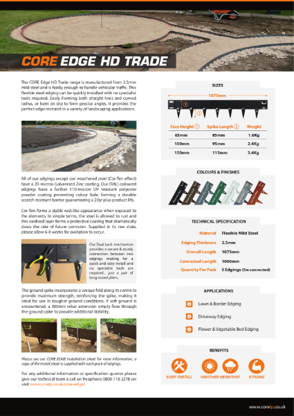 CORE EDGE HD Trade Metal Edging Specification Sheet