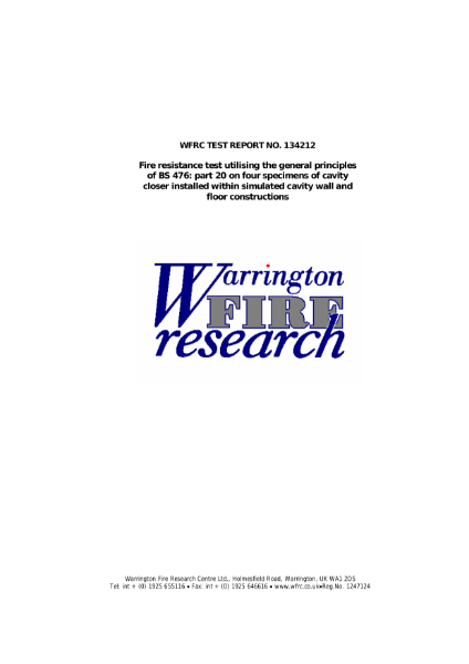 Warrington Fire - Manthorpe G249 Cavity Closer - Test Report No. 134212
