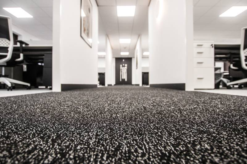 An Office Installation using Rawson's Fanfare Nylon Carpet Tile in 2 distinct colours for Key Assets Birmingham