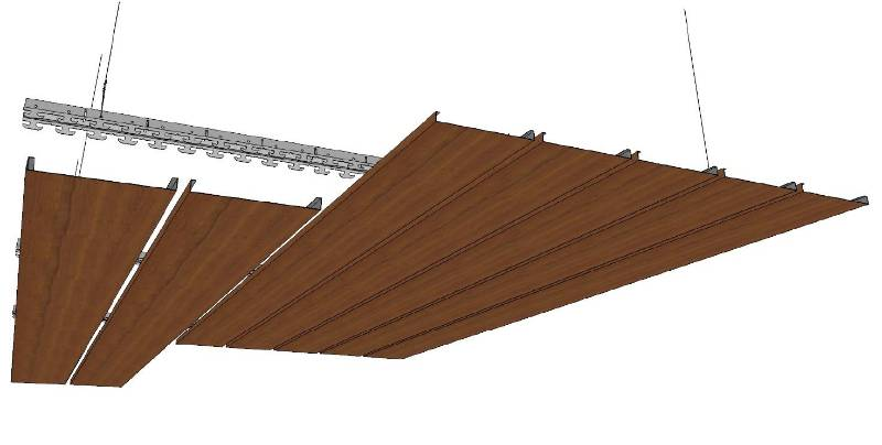 Technowood Natural Veneer Coated Indoor Linear Ceiling Systems