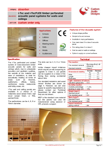 Timber Acoustic Panel Systems - I-Tec