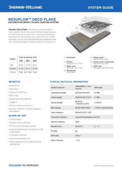 Resin flooring Resuflor Deco Flake system