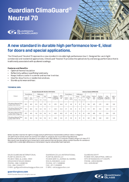 ClimaGuard® Product flyers - Neutral 70