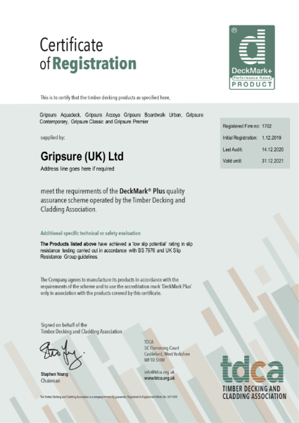Gripsure DeckMark® Plus Certificate