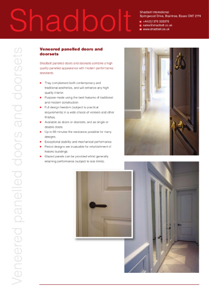 Veneered panelled doors and doorsets