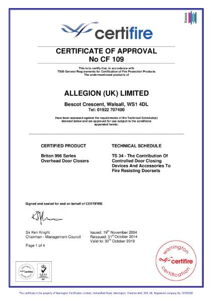 Certificate of Approval CF-109