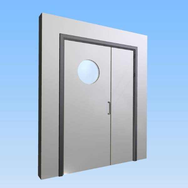 CS Acrovyn® Impact Resistant Doorset - Unequal pair with type VP6 Vision Panel