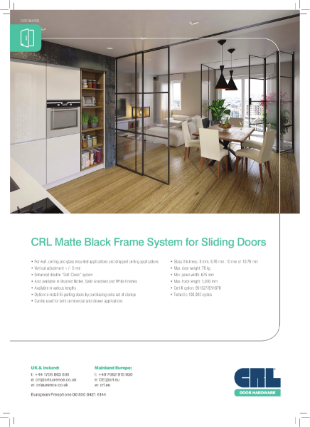 CRL Matte Black Frame System for Sliding Doors