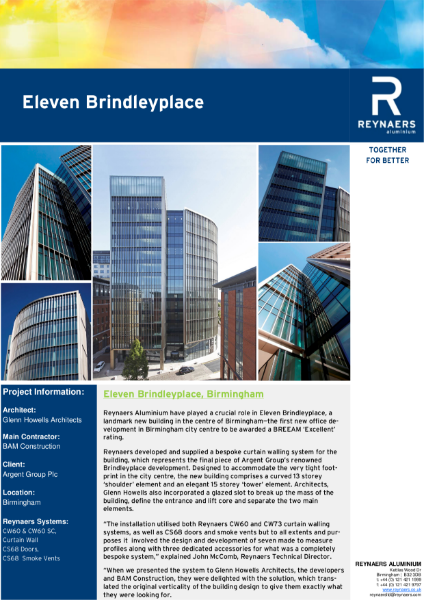 Case Study: Eleven Brindleyplace, featuring aluminium curtain wall