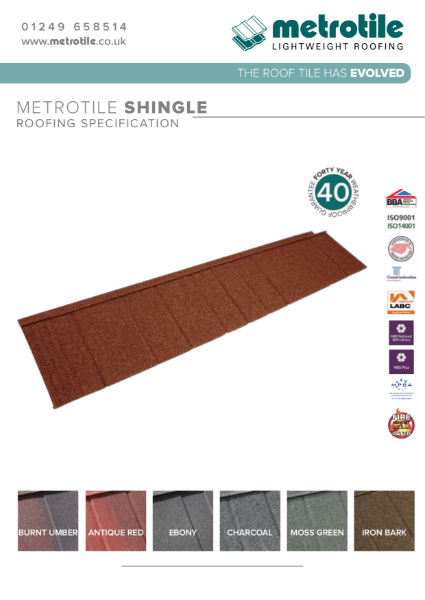 Metrotile Shingle Lightweight Steel Roofing and Cladding specification example