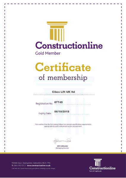 Constructionline Certificate of Membership