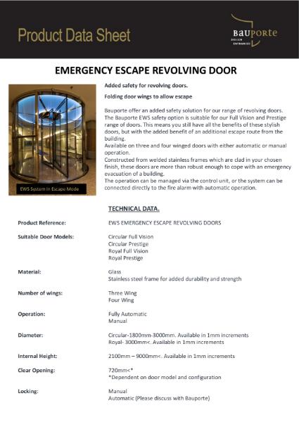 Bauporte EWS Emergency Escape Revolving Doors