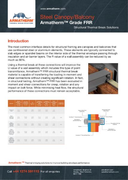 Steel Canopy/Balcony Thermal Break - Armatherm