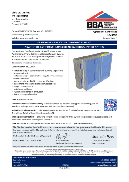 18/5553_1   FASTFRAME RAINSCREEN CLADDING SYSTEMS