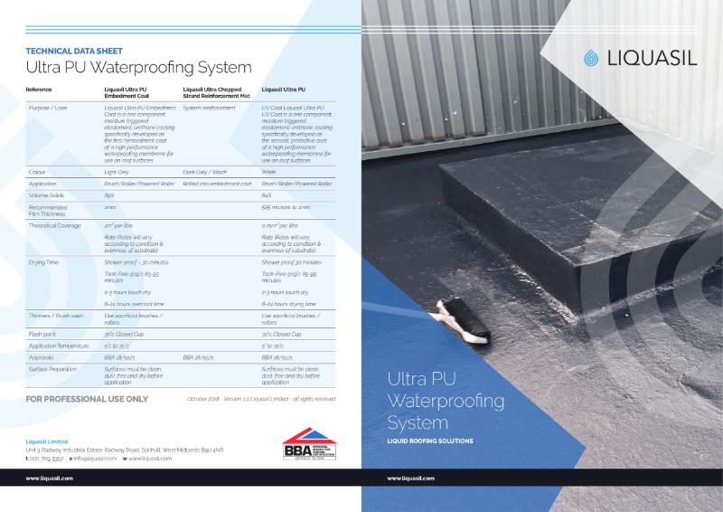 Flat Roof Waterproofing System - Liquasil Ultra PU
