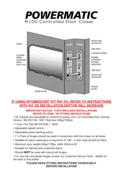 Powermatic R100 concealed door closer fitting instructions