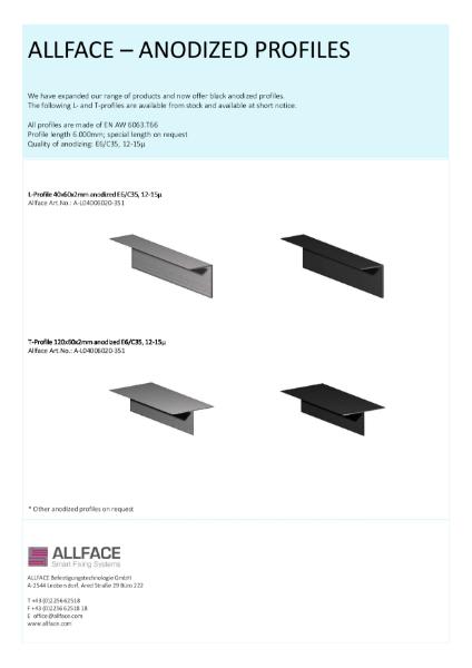 Allface Anodized Profiles Datasheet