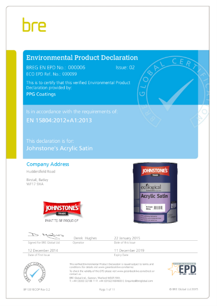 Environmental Product Declaration (EPD): BREG EN EPD No.: 0000006