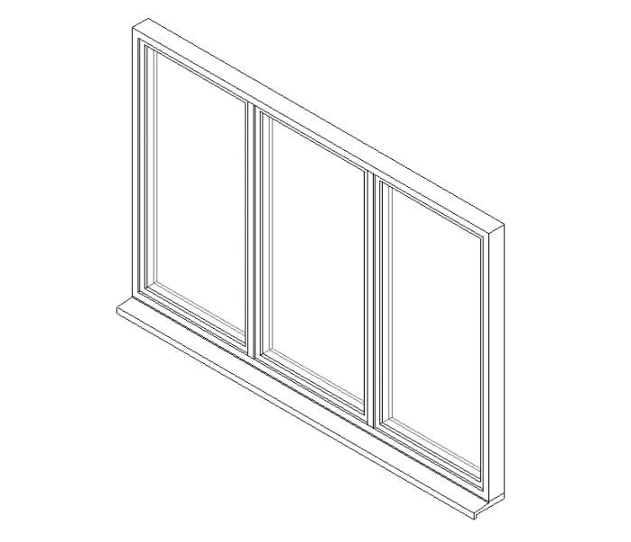 Triple Window System with Side Hung Opening Lights and Central Fixed Light