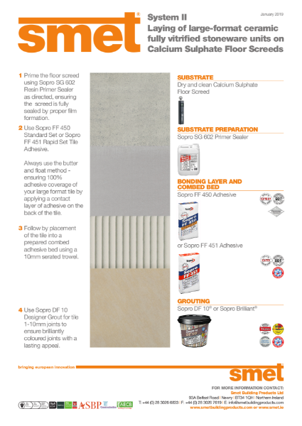 TDS SMET - Tiling Onto Calcium Sulphate Floor Screed | System II