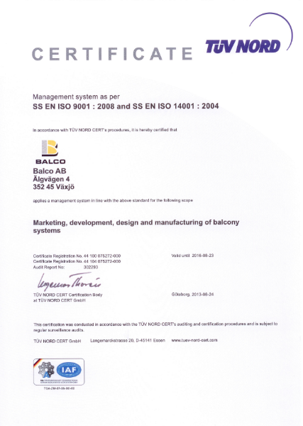 SS EN ISO 9001:2008 and SS EN ISO 14001:2004