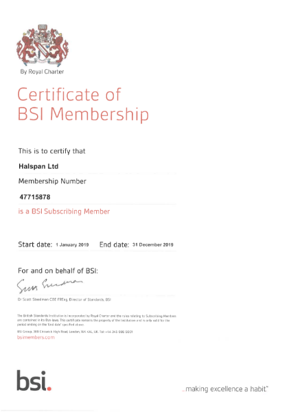 Halspan BSI Certificate