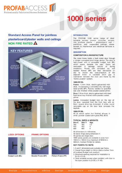 Profab PRIMA 1000 Series Wall Access Panel Non-Fire Rated with Metal Door