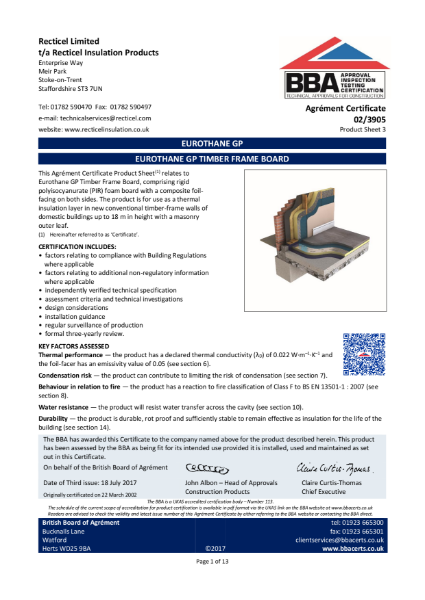 BBA Agrément Certificate