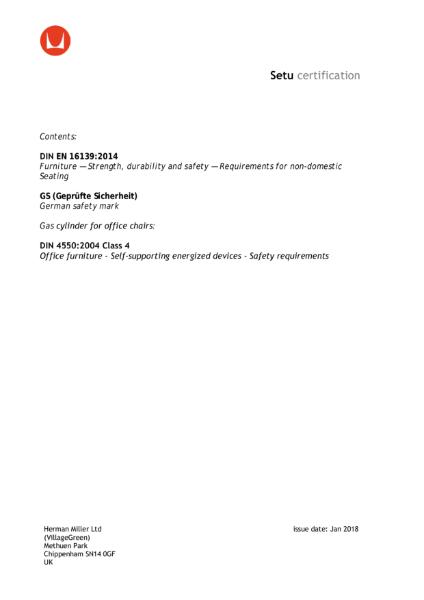 Setu Chair - Certifications