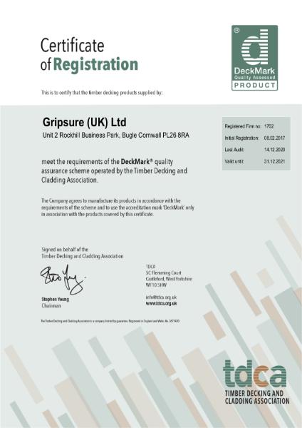 Gripsure DeckMark® Certificate